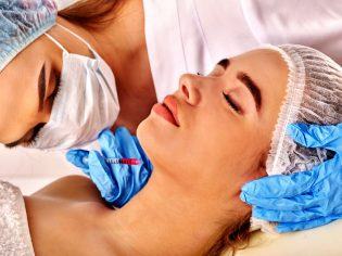 75237549 - filler injection for female forehead face. plastic aesthetic facial surgery in beauty clinic. beauty woman giving  injections. doctor in medical gloves with syringe injects neck drug